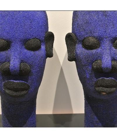 TETES AFRICAINES PERLEES TRIBU BAMILEKE CAMEROUN